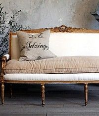 Vintage Shabby Louis XVI French Style Gilt Settee-antique, gold,upholstered, chic,square,modern, furniture,sofa, loveseat,couch,cream
