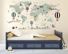 Animal map cultural world map wall decal reusable vinyl fabric airplane world map decal clear vinyl decal boys room decals world map mural gumiabroncs Gallery
