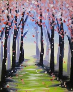 Spring Path - Paint Nite - Lindsey Sniffin Trees are purple. Wine Painting, Summer Painting, Painting & Drawing, Easy Painting Projects, 7th Grade Art, Spring Landscape, Great Paintings, Paint Party, Pictures To Paint