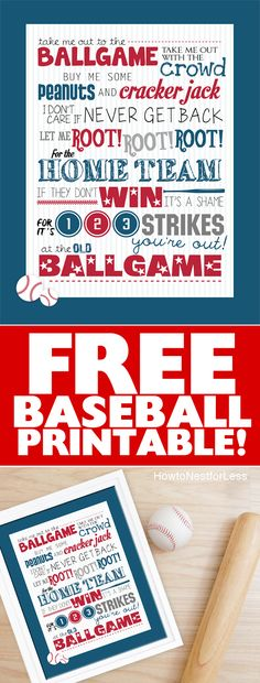 Baseball TAKE ME OUT TO THE BALL GAME free printable. Love this for a kids bedroom or for the start of baseball season!!