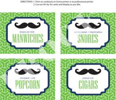 printable food labels from etsy...  sloppy joe manwiches, marshmallow snores, pretzel rod cigars $14.00