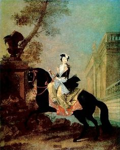 CATHERINE II when she first came to Russia and was known, after her marriage to the future Peter III as Grand Duchess Yekaterina Alexeyevna (II), Equestrian portrait. Kinder Art, Illustration, Beautiful Art, Art, Portrait, Catherine Ii, Horse Art, Painting, Catherine The Great