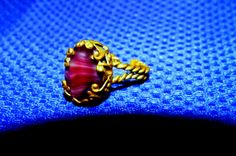 Purple Agate  Brass Ornate Adjustable Ring Costume Jewelry SALE Code DASHAWAY15