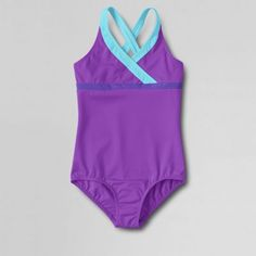 Lands' End Purple girls' smart swim colourblock one piece swimsuit- at Debenhams.com