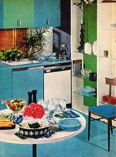 Kitchen From Better Homes & Gardens Decorating Ideas design ideas interior house design house design room design Vintage Interior Design, Mid-century Interior, Vintage Interiors, Vintage Home Decor, Vintage Kitchen, Retro Vintage, 1950s Kitchen, Vintage Pyrex, Vintage Soul