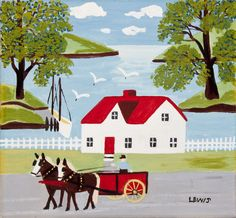 """""""Horse Cart in Digby Harbour"""", circa 1958, Oil on Panel by Maud Lewis"""
