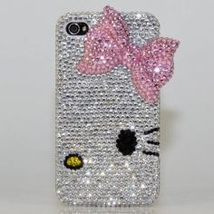 Swarovski Luxury Crystal Bling Case Cover for iphone 4 / Handcrafted by BlingAngels with Carrying Pink Pouch Coque Iphone, Iphone 4, Iphone Cases, Cute Cases, Cute Phone Cases, Laptop Cases, Decoracion Hello Kitty, Wonderful Day, Hello Kitty Items