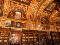 Not only is this Spanish library a work of art, it's also part of a UNESCO World Heritage site. Originally commissioned by King Philip II, the library's most dazzling feature is a series of seven frescoes that depict the liberal arts (music, rhetoric, astronomy, etc). The town of San Lorenzo de El Escorial, which is about 45 minutes outside of Madrid, has long been a favorite of Spanish royals, and there's plenty more to see here beyond the library, including a monastery, gardens, and the…