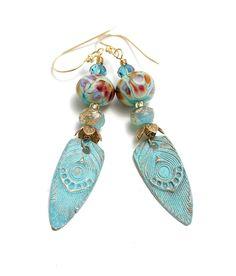 Mermaid and Purple Bead with Feather Charm Bohemian Earrings Bohemian Jewelry Spring Earrings