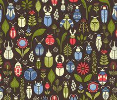 just like beetles fabric by catalinakim on Spoonflower - custom fabric ~ NUMBER 2 of the Beetles Contest on Spoonflower! Congratulations Catalina!