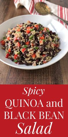 This Spicy Quinoa and Black Bean Salad makes a deliciously refreshing light main course for three, or side dish for four to five people.