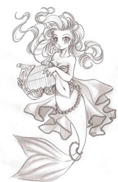 Cool mermaid drawing