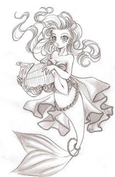 Cool mermaid drawing