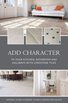 Bring your bathroom, kitchen or hallway floors to life with tiles from our limestone collection. With a wide variety of colours from blue to beige, to black and grey the selection makes for great statement pieces that work well in traditional or contemporary kitchens. Head on over to our website, to make your choice. #naturalstoneconsulting #naturalstone #stonetilefloors Limestone Flooring, Natural Stone Flooring, Kitchen Wall Tiles, Kitchen Flooring, Outdoor Paving, Hallway Flooring, Contemporary Kitchens, Decorative Tile, Stone Tiles