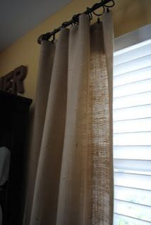 No sew burlap curtains. A fab idea to replace the curtains on our sliding glass door... burlap can take a ton of kid abuse and still look great!