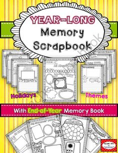 YEAR-long Scrapbook with End-of-Year Memory Book from Tejedas Tots K 2 on TeachersNotebook.com -  (73 pages)  - Year-long scrapbook for photos and/or drawing and writing. Makes a wonderful keepsake and great writing portfolio!