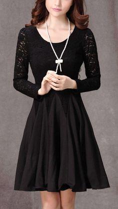 Long Sleeved Black Lace Chiffon Dress / Little Black Dress / Black Fit And Flare Dress
