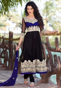 Beautiful Black Churidar Kameez Set