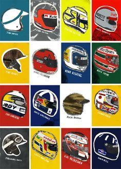 Helmets Racing Helmets, Motorcycle Helmets, Bicycle Helmet, Formula 1, Vintage Motorcycles, Bobber, Chopper, Grand Prix, F1