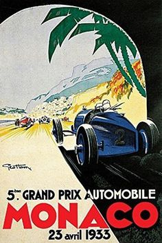 GRAND PRIX de MONACO POSTER 1933 French Vintage Car Racing RARE HOT NEW 24x36