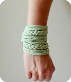 Womens Braided Cuff  Tshirt Bracelet  By by LimeGreenLemon on Etsy