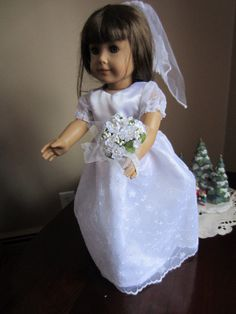White+Wedding+Dress+Veil+and+Flowers+for+18+by+DistinctiveDoll,+$25.00