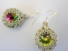5 Awesome Beaded Swarovski Rivoli Earrings Tutorials ~ The Beading Gem's Journal Seed Bead Jewelry, Seed Bead Earrings, Diy Earrings, Beaded Jewelry, Prom Jewelry, Handmade Jewelry, Diy Jewelry Videos, Jewelry Making Tutorials, Beading Tutorials
