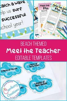 meet the teacher ideas Meet the teacher night is easy with these Editable templates to coordinate with your beach classroom decor. Whether you call it meet the teacher, or open ho Back To School Night, Welcome Back To School, First Day Of School, Diy Classroom Decorations, Classroom Themes, Meet The Teacher Template, Classroom Supplies, New Teachers, Newsletter Templates