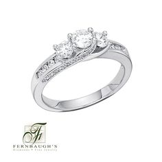 14K White Gold Three Stone Anniversary Ring available in 1/2 or 1 carat total weight (24C)