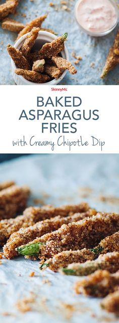Satisfy your french fry cravings with this healthier recipe. Baked Asparagus Fries have all the crisp deliciousness of a potato fry but are baked in order to avoid those pesky empty calories that come from frying oil. #snacks #sidedish #healthyfood