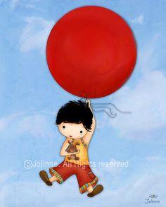 Nursery art print for boys gift idea for little boys by jolinne
