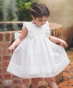 White Flutter-Sleeve Bow Dress - Toddler & Girls