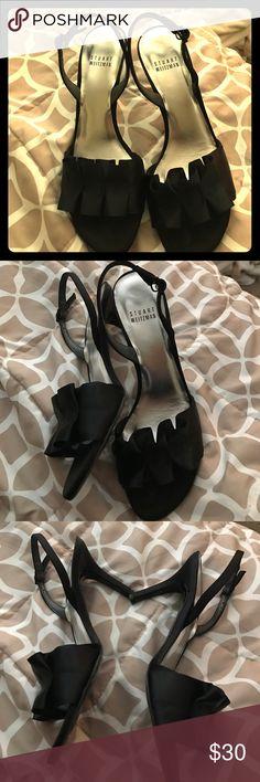 Pre loved Stuart  Weitzman heels Pre loved black satin sling back Stuart  Weitzman heels 3.5 inch heel comfy not to high of a heel but still cute Stuart Weitzman Shoes Heels