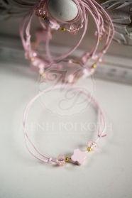 Μαρτυκό βραχιόλι ροζ με ξύλινο σταυρό