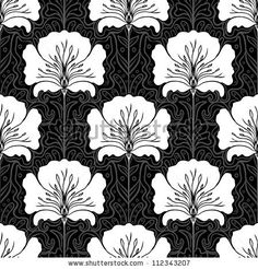 Black and white seamless pattern with pink flowers on blue background. Art nouveau style. by Gorbash Varvara, via Shutterstock