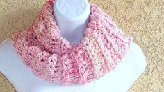 Outlander-inspired Cowl, chunky crocheted in Pink Parfait double-thick acrylic yarn Fall Back, Pink Tone, Parfait, Outlander, Handicraft, Cowl, Inspired, Inspiration, Craft