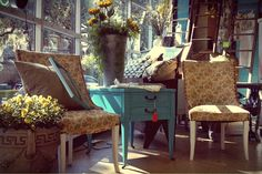 It is a beautiful day to go shopping!  Set of vintage chairs: $149 Turquoise side table: $89 Galvanized bucket (flowers not included): $35 Vintage Chairs, Go Shopping, Beautiful Day, Dining Chairs, To Go, Bucket, Turquoise, Living Room, Table