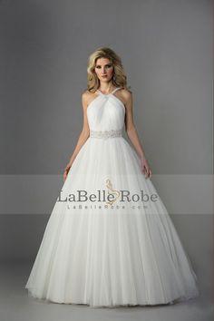 2014 Halter bretelles perlées et de la taille Robe de mariée A ligne / princesse corsage plissé Tulle