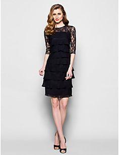 Mother of the Bride Dress Knee-length Half Sleeve Chiffon Sh... – USD $ 99.99
