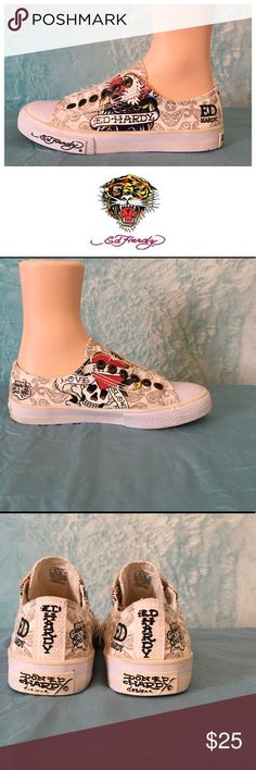 Ed Hardy canvas sneakers. Ed Hardy canvas sneakers. Size 5 but they're a big 5 - I wear a true six and these fit me just fine. Normal wear but in great shape. Ed Hardy Shoes