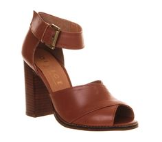Office June Block Heel Tan Leather - High Heels