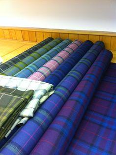 Bright and Beautiful Tartans, fresh off the loom ~ Bute Fabrics in Scotland