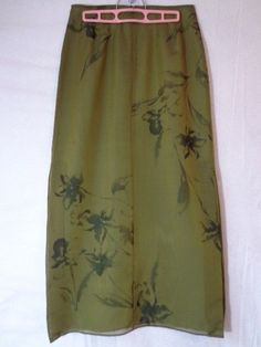 Gorgeous ANN TAYLOR Olive Green Maxi Silk Skirt with Floral Print Silk Overlay in a sizez 6 #AnnTaylor #Maxi  More ending soon: http://www.ebay.com/sch/frocksandfinds/m.html?_nkw=&_armrs=1&_from=&_ipg=25&_trksid=p3984.m1543.l2654