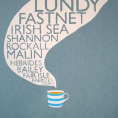 Sianuska Original Art & Screen Prints - Thanks for visiting my folksy shop. I make art inspired by my grannies, cups of tea, vintage typography, cosy evenings in and buttered toast amongst other things! Thank you for buying handmade and supporting my c. Shipping Forecast, Cornishware, Ribba Frame, Cuppa Tea, Fun Cup, Vintage Typography, Paper Dimensions, Card Making Inspiration, Home Art