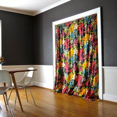 Vintage Pair of Floral Curtain Panels - Cotton Fabric Yardage Cotton Black Bright Flowers Window Hangings
