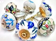 tiradores multicolor de cerámica manijas herrajes cajonera