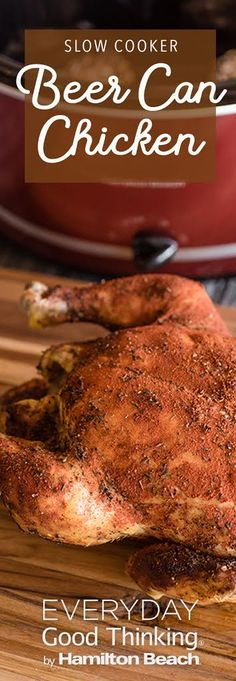 Slow Cooker Beer Can Chicken Pinterest Graphic