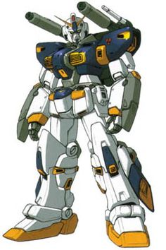 "The Gundam ""Mudrock."" No, I don't know why it's called that.  But its a mix of Guncannon and Gundam. Shows up in the game ""Zeonic Front"" as the main antagonist. Hey, Bandai, if you're listening, make a model of this guy!"