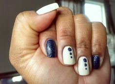 OPI My Vampire is Buff (off white nail polish) with Sally Hansen Laughie Taffy (navy blue textured nail lacquer) from the Sugar Coat Collection white nail, nail polish, textur nail, nail lacquer, nail diari