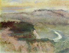 пейзаж с Склоны , Пастель по Edgar Degas (1834-1917, France)